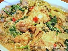 Ginataang Manok is translated as chicken stewed in coconut milk. This is a simple Filipino Recipe wherein chicken is sautéed in garlic, onion, and ginger