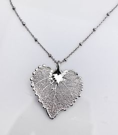 Sterling Silver Dipped Real Aspen Leaf Pendant Necklace, Leaf Pendant, Real Leaf, Nature Jewelry, Fall wedding, Bridesmaid Gift ZolaJewelryDesign