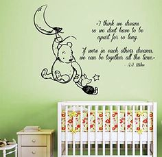 Wall Decals Vinyl Decal Sticker Home Interior Design Art Mural Winnie the Pooh Quote Piglet Moon Dreaming Friends Girl Boy Kids Nursery Baby Room Decor -- You can find more details by visiting the image link.