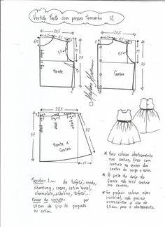 Patrón de vestido de fiesta para niña con la falda plisada. Tallas desde 1 año a 14 años.