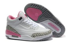 Jordan 3 white pink basketball women shoes