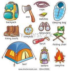 Vector illustration of Cartoon Camping equipment vocabulary
