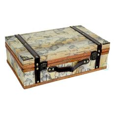 Quickway Imports Old World Map Wooden Small Trunk Box
