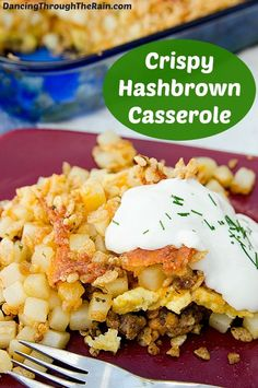 Hashbrown Casserole With Sausage, Egg, & Cheese - This crispy Hashbrown Casserole is the perfect hearty breakfast. Topped with Krispies and filled with sausage and egg, you'll never skip breakfast again!
