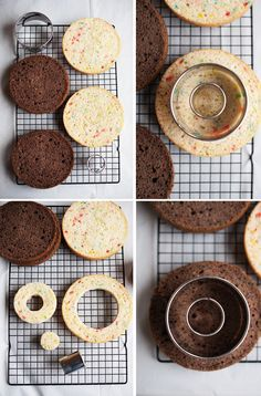 """How to make a checkerboard cake. Uses only one box of mix, divided and flavored, then cut horizontally, and then 'ringed' with cutters or circular bowl, etc, reassemble! Made many times.  Do NOT cut the 8 or 9"""" layers horizontally, it uses too much frosting and makes the pieces too unstable."""