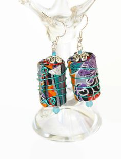 SOLD - BOHO TEXTILE EARRINGS hippie jewellery boho by ChrisHearnDesigns