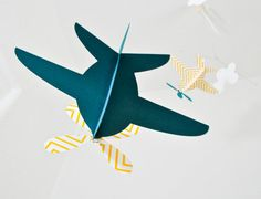 Baby Mobile Airplanes in Yellow Chevron and  by CactusAndOlive, $36.00