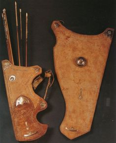 Ottoman quiver and bow holder, century, Furusiyya Art Foundation. Archery Shop, Archery Quiver, Bow Quiver, Turkish Bow, Leather Quiver, Medieval Shields, Ottoman Turks, Muslim Culture, Bow Cases