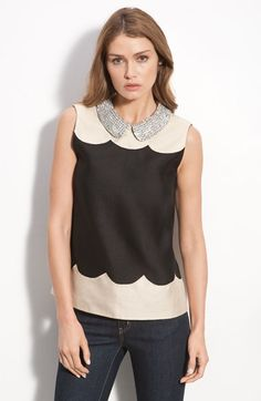 kate spade new york 'francoise' rhinestone collar sleeveless top | Nordstrom