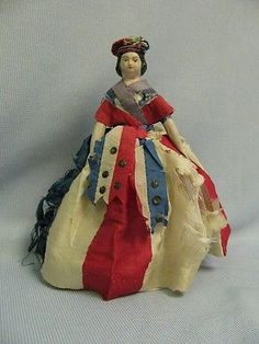 "8"" Antique PAPIER-MACHE Doll c1850 PATRIOTIC MILLINER'S MODEL Original & Sweet"