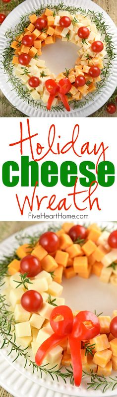 Holiday Cheese Wreath ~ this easy and festive Christmas party appetizer is made by arranging cubes of cheese in a ring, accenting with cherry tomatoes and a garland of rosemary, and finishing off with a bell pepper bow!   FIveHeartHome.com