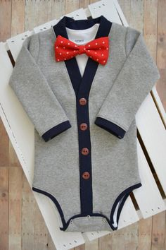SALE Preppy Baby Cardigan Onesie: Gray and Navy Blue with Interchangeable Tie Shirt and Bow Tie