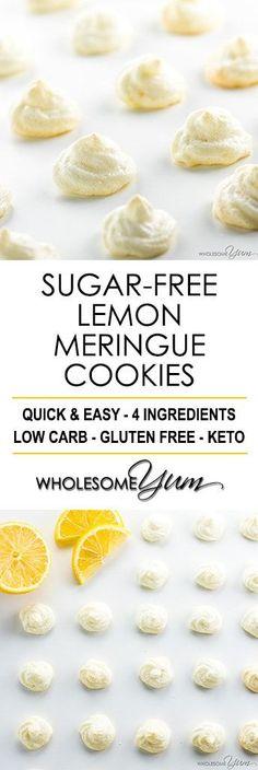 Easy Sugar-Free Lemon Meringue Cookies Recipe - See how to make meringue cookies that are healthy & delicious! These easy sugar-free lemon meringue cookies without cream of tartar need just 4 ingredients.