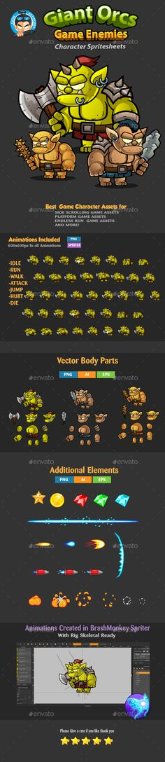 Giant Orcs 2D Game Character Sprites 260 Download here: https://graphicriver.net/item/giant-orcs-2d-game-character-sprites-260/18050028?ref=KlitVogli