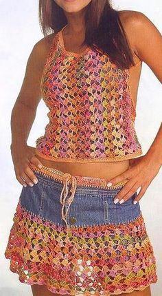3-3 top tejido mas falda con tela mahón