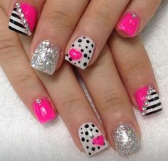 Cute Nails, love the colors and designs DONE index finger only w/silver line Fancy Nails, Pink Nails, Toe Nails, Black Nails, White Nails, Girls Nails, Fabulous Nails, Gorgeous Nails, Pretty Nails