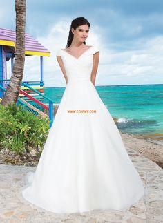 Beach / Destination Organza Glidelås Billige Bryllupskjoler