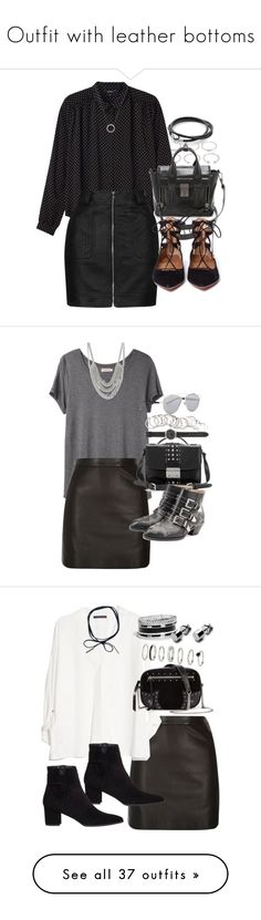 """""""Outfit with leather bottoms"""" by ferned on Polyvore featuring Forever 21, Monki, Topshop, 3.1 Phillip Lim, Aquazzura, Michael Kors, Organic by John Patrick, River Island, Miu Miu and Chloé"""