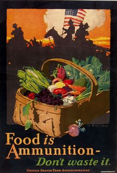 Vintage WWI poster encouraging the public to conserve food. Vintage European Posters at vepca.com