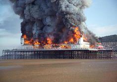Weston Super Mare, Pier up in flames North Somerset, Weston Super Mare, Up In Smoke, Places Of Interest, Devon, Bristol, Childhood Memories, Seaside, Countryside