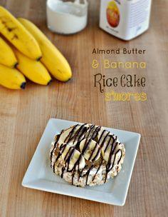 ライスケーキ 4枚 マシュマロクリーム 1/4カップ アーモンドバター(なければピーナツバター) 大さじ2 バナナ  1/4 溶かしたチョコレート 1/4カップ