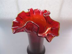 Red Glass Vase with Amber Crest Hand Blown by TheSnapDragonsLair