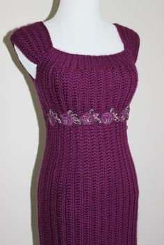 Womens Crochet Sweater Dress Baby Doll Dress MAgenta - design by Mary Jane Hall