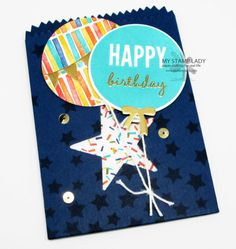 Handmade Birthday Card in A Mini Treat Bag envelope. Use the Celebrate Today bundle to decorate this great bag and create a great card. www.mystamplady.com
