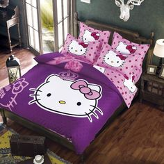 Decorate your room with this Purple Hello Kitty Bedding Set! - Perfect for any Hello Kitty fanatics - Additional to your Hello Kitty collection - While Supplies Last! Limit 10 Per Order Please allow 4 3d Bedding Sets, Cotton Bedding Sets, Duvet Bedding, Cotton Duvet, Cotton Fabric, Comforter Sets, Cute Duvet Covers, Bed Duvet Covers, Duvet Cover Sets