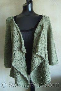 #102 Drape-Front Top-Down Lace Cardigan PDF Knitting Pattern