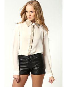 Zega Store - Camasa, de culoarea crem cu dantela - Femei, Camasi Simple Shirts, Women's Shirts, Leather Skirt, Stylish, Skirts, T Shirt, Fashion Trends, Dress, Skirt