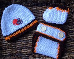 White Cleveland Browns Infant Baby Crochet Gift Set