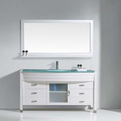 """Virtu Ava 61"""" Single Bathroom Vanity Set with Clear Top and Mirror Base Finish: White, Faucet Finish: Polished Chrome"""