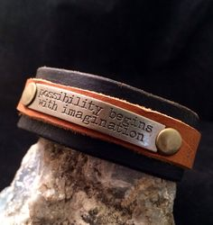 Handmade one of a kind leather cuff bracelet with metal stamp quote on Etsy, $25.00
