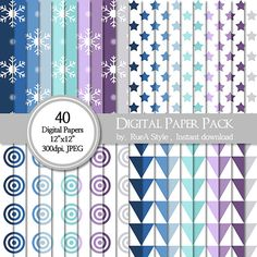 SALE 40 Digital Paper Pack Dot triangle frozen by rueastyle