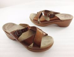 "Dansko Womens 40 EU 9.5 - 10 US Bronze Patent Leather 2"" Heels Slides Sandals  #Dansko #Slides #Casual"