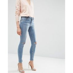 ASOS Lisbon Mid Rise Skinny Jeans In Shelby Light Stonewash with... (895 MXN) ❤ liked on Polyvore featuring jeans, blue, destructed skinny jeans, stone washed jeans, destroyed jeans, super ripped skinny jeans and super skinny jeans