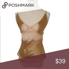 🆕Frances Smily Lingerie Top *NWOT* Frances Smily lingerie silk tank. Has tiny stain at back (bought as is). Color is a Beige gold with ivory lace.   ▫️Size S ▫️100% Silk ▫️Hand wash 🔅BUNDLE & SAVE🔅 ✅Smoke/Pet free home 📦Shipment Days: Monday, Wednesday & Friday 🔘Please use offer button for all offers Tops Blouses