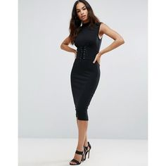 ASOS Corset Waist Midi Dress featuring polyvore women's fashion clothing dresses black strappy cami midi dresses lace up midi dress lace up corset dress asos dresses