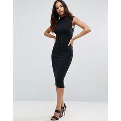 ASOS Corset Waist Midi Dress featuring polyvore women's fashion clothing dresses black strappy cami midi dresses lace up midi dress lace up corset dress asos dresses