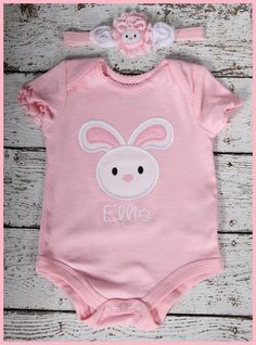 New Super Cute Pink Personalized Bunny by LilBitofWhimsyCoutur