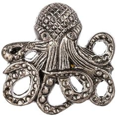 Pewter Metal Octopus Knob