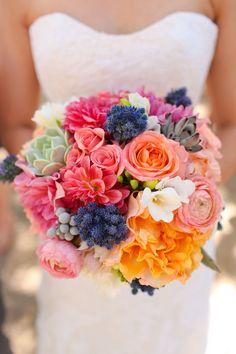 #bright #color #wedding #bouquet #pink #coral #orange #yellow #succulent #bride #flowers