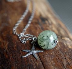 "Sterling Silver and Prehnite necklace - 24"" length - Mossy Sea Star"