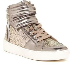 Aldo Brie High Top Sneaker ($48) ❤ liked on Polyvore featuring shoes, sneakers, silver, aldo shoes, silver sneakers, high top trainers, lacing sneakers and glitter sneakers