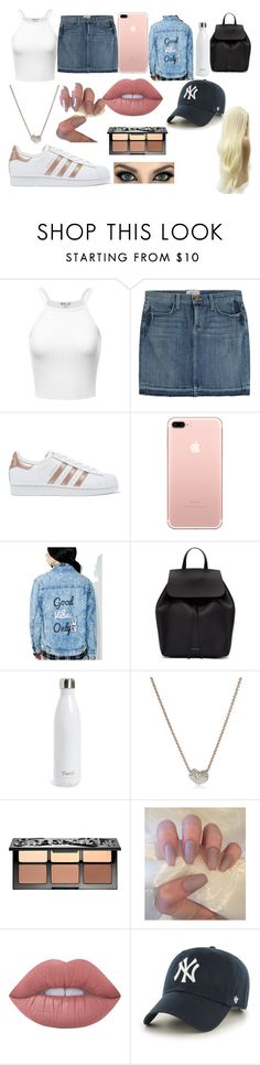 """Random"" by aurorarayne ❤ liked on Polyvore featuring Current/Elliott, adidas Originals, Honey Punch, Mansur Gavriel, S'well, Monica Vinader, Sephora Collection, Lime Crime and '47 Brand"