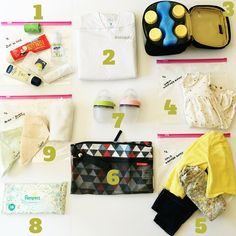 Ideas for what to pack in a daycare or diaper bag for an infant…