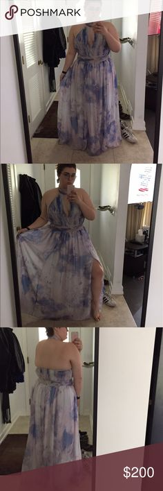 Size 16 floor length dress Purple and blue watercolor floor length dress only worn once fame and partners Dresses Prom