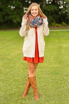 orange dress + plaid infinity scarf + ivory long cardigan + cognac boots