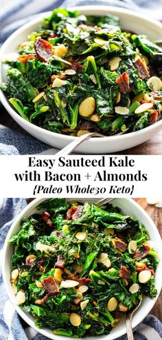 This delicious and simple sautéed kale with bacon and almonds is a savory healthy side dish that youll want on repeat! Its paleo and friendly keto and Low FODMAP. Serve it with any main course to add lots of flavor and nutrients to your meal. Paleo Side Dishes, Veggie Side Dishes, Side Dish Recipes, Food Dishes, Kale Dishes, Paula Deen, Fodmap Recipes, Healthy Recipes, Bacon
